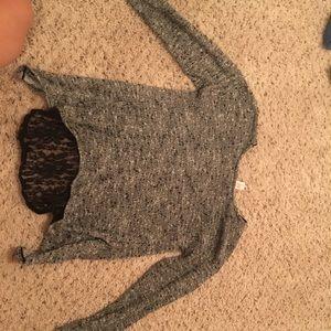 Super cute slit back lacy sweater!